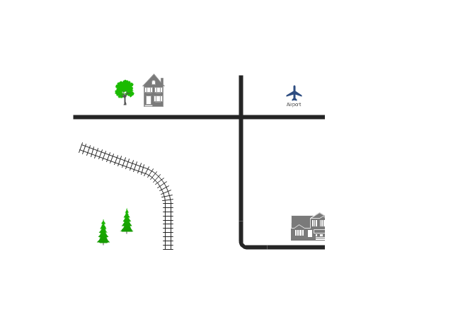 Directional map template, tree, suburban home, road, railway, line, railway, house, town house, fir-tree, curve, airport,