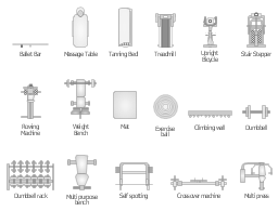 Physical training symbols, weight bench, upright bicycle, treadmill, tanning bed, stair stepper, self spotting, rowing machine, multi purpose bench, multi press, multipress, mat, massage table, exercise ball, dumbbell rack, dumbbell, crossover machine, climbing wall, ballet bar,