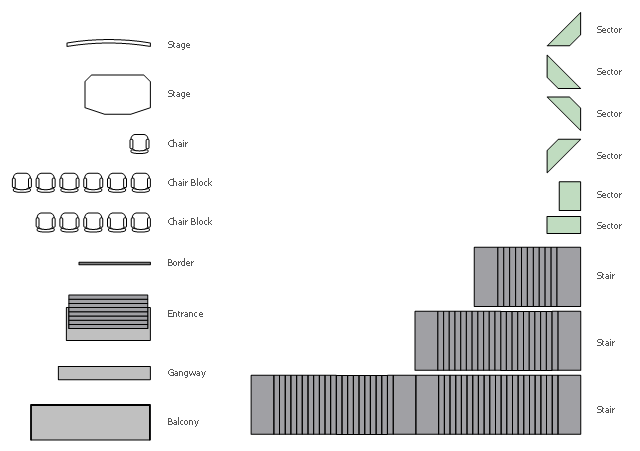 Seating plan shapes, stair, stage, sector, gangway, entrance, chair block, chair, border , balcony ,