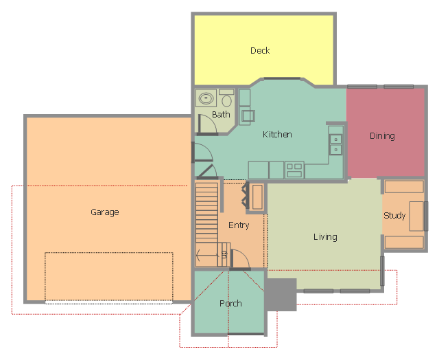 Home floor plan, stair direction, double bi-fold door, door, divided return stairs, corner counter,