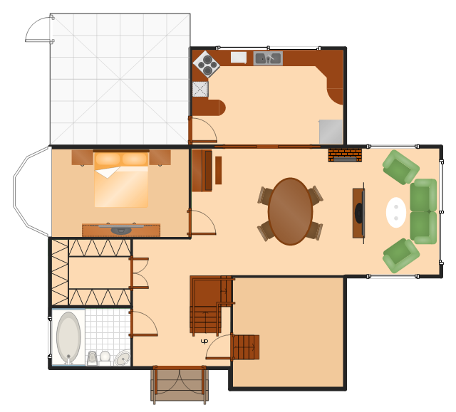 House floor plan, window, casement, toilet, straight staircase, stair direction, square roof, roof, spinet piano, sink, room, rectangular table, table, oval table, table, night stand, microwave oven, loveseat, island, hearth, glider window, glass oval table, glass table, flat screen TV, double pocket door, double door, double bed, door, divided return stairs, countertop, corner sink, corner counter, cooker, oven, closet, chest, chair, built-in, dishwasher, bow window, bidet, bath tub, arm chair, T-room, 2-door, refrigerator, freezer,