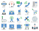 Telecommunication icon set, walkie talkie, transportation, bus, telecommunication, landline phone, support center, satellite, rocket, police radio, phone receiver, hotline, global communication, network, dish antenna, digital phone, cordless phone, communication tower, signal tower, wifi antenna, call center, help center, broadcasting, base station, aviation, antenna tv, active pc, select computer,