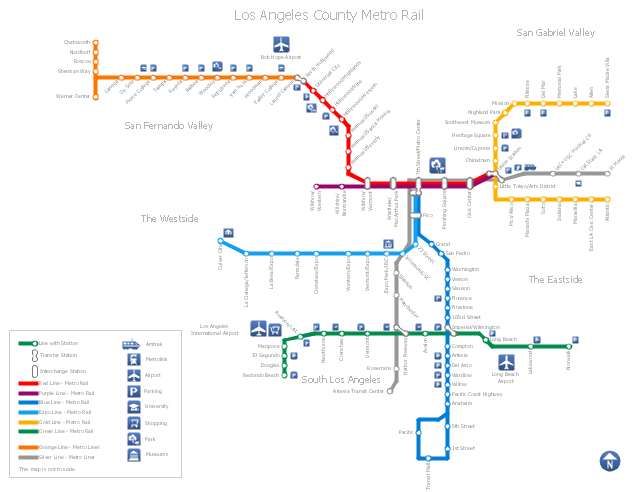 Los Angeles metro map, university, transfer station, train railway, shopping, parking, park, landmark, museum, interchange station, airport, North arrow,