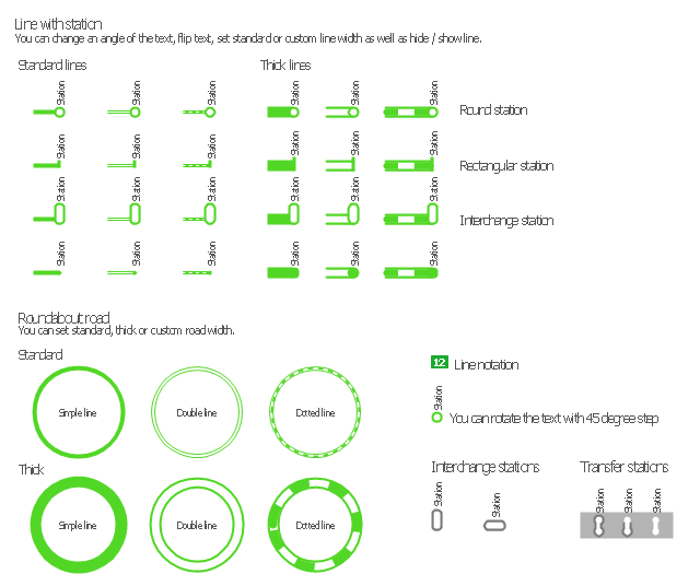 Metro map shapes, transfer station, station, roundabout, roundabout road, roundabout, line, station, line notation, interchange station,