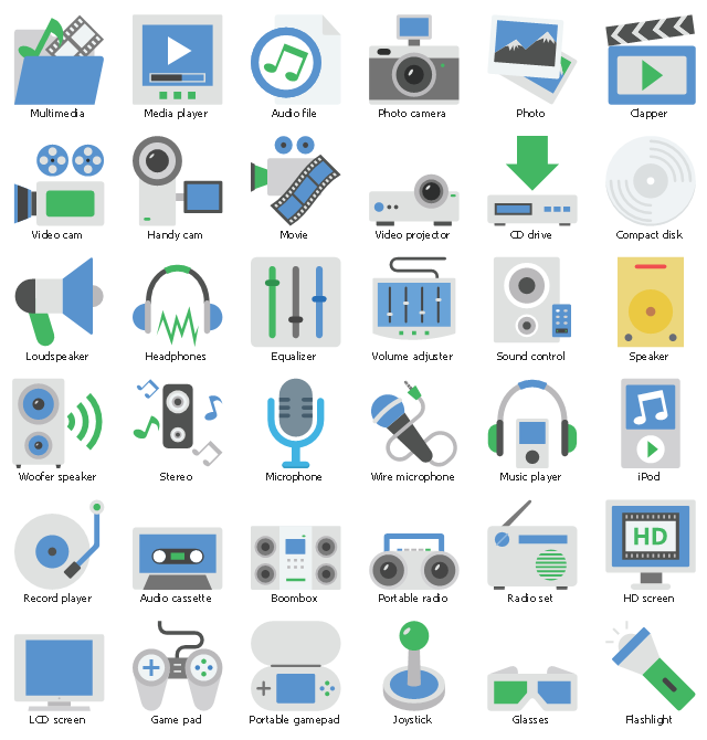 Multimedia icon set, woofer speaker, wire microphone, volume adjuster, equalizer, sound settings, video projector, video cam, film recorder, movie recorder, stereo, speaker, speaker, audio, sound control, record player, radio set, transmission, portable radio, cassette recorder, portable gamepad, control pad, game controller, photo, images, photo camera, music player, multimedia, movie, microphone, media player, loudspeaker, lcd screen, joystick, iPod, mp4 player, iOS music player, headphones, handy cam, glasses, game pad, game stick, flashlight, pocket torch, equalizer, drawing shapes, compact disk, cd, clapper, cd drive, dvd player, cd player, boombox, cassette player, audio file, audio cassette, HD screen,