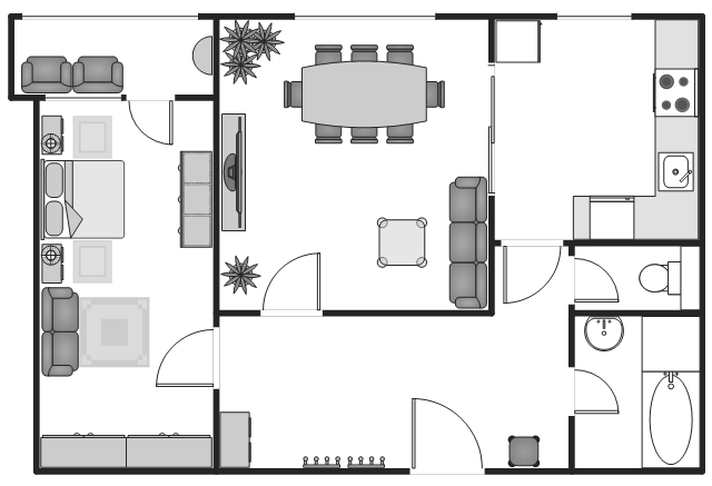 Flat plan, window, casement, washing machine, wardrobe, wall hooks, wall cabinet, wall, triple dresser, toilet, table lamp, square stool, square rug, sofa, sink, refrigerator, upright freezer, rectangular table, rectangular rug, peninsula end-shelf, base peninsula end-shelf, pedestal sink, round freestanding sink, loveseat, house plant, potted plant, glass square table, flat screen TV, double bed, door, countertop, corner counter, cooker, oven, chair, bypass door, boat shape table, bath tub, bathtub, base cabinets, arm chair, armchair,