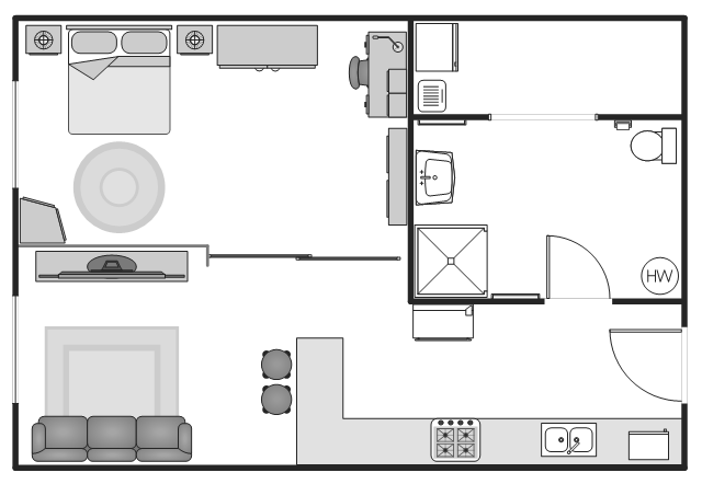 Floor plan, window, casement, water heater, washing machine, wardrobe, wall cabinet, wall, towel rack, toilet paper holder, toilet, table lamp, sofa, sliding glass door, shower, round stool, round rug, room divider, rolling chair, rectangular table, rectangular rug, rectangular room, pedestal sink, rectangular freestanding sink, microwave, hamper, gas range, food cooler, flat screen TV, drawing shapes, double sink, double bed, doorway, opening, door, desk lamp, desk, bent counter, base end angle, base end angle cabinet, base cabinets,