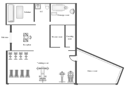 Health club floor plan, window, casement, weight bench, wall, upright bicycle, treadmill, toilet, tanning bed, stair stepper, single, style station, rowing machine, opening, mat, massage table, door, chair, basin, ballet bar,