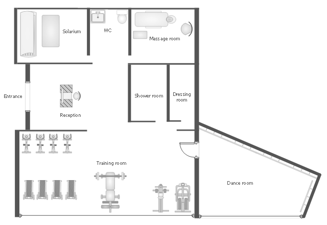 Gym equipment layout floor plan gym and spa area plans for Nightclub floor plans