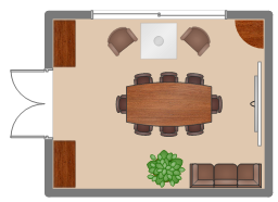 Layout plan, sofa, screen, round corner, room, plant, potted plant, glider window, glass square table, glass table, double door, chair, boat shape table, table, chair with arms, chair, bookcase, backboard,