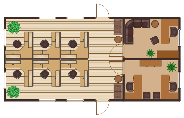 Office floor plan, window, casement, wall, sofa, side chair, chair, sectional sofa with arms, sectional sofa, sofa, round table, table, room, plant, potted plant, house plant, potted plant, flat file, door, desk, right hand return, desk, left hand return, chair with arms, chair, bookcase, L-workstation, workstation,