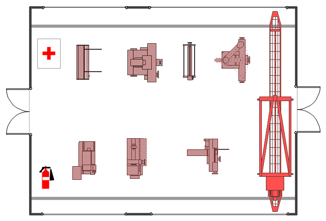 Industrial equipment layout, window, casement, turret milling machine, surface grinder, shearing machine, room, horizontal band saw, band saw, hand roller press, first aid cabinet, fire extinguisher, extinguisher, double door, dock-side crane, dockside, computer numerical control lathe, CNC lathe, centre lathe,