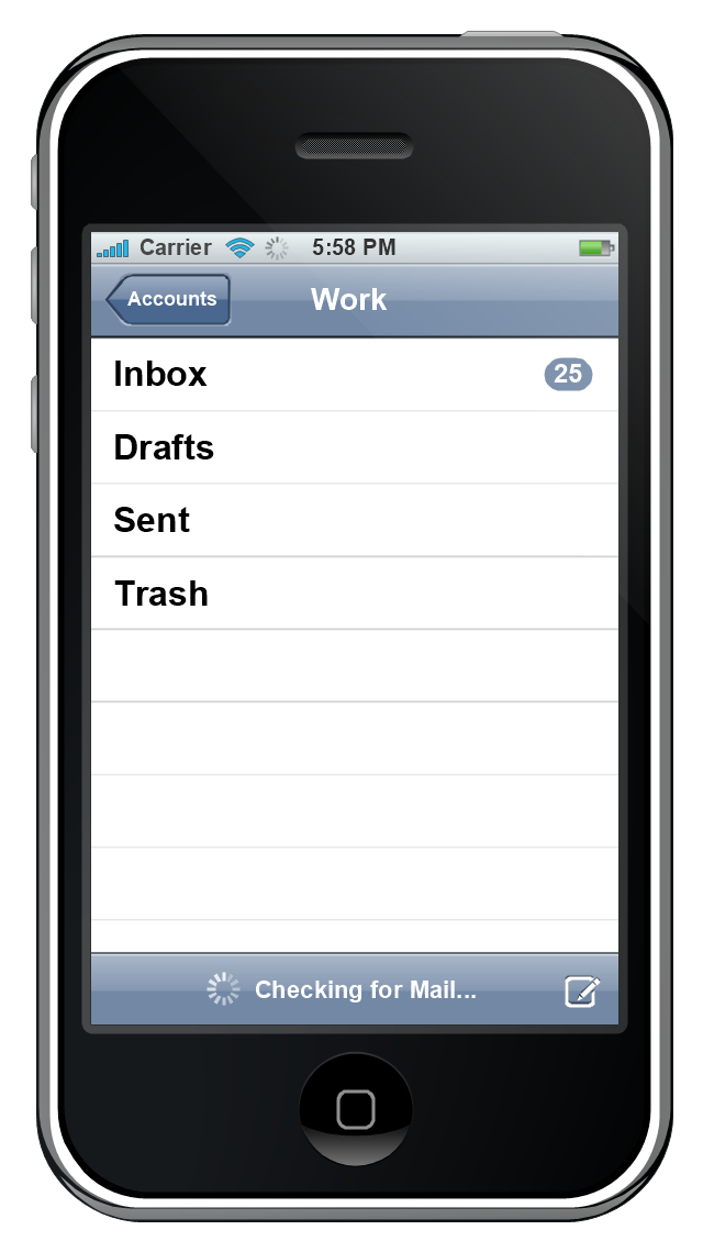 iPhone GUI, toolbar, status bar, activity indicator, status bar, simple list, navigation bar, controls, activity indicator,