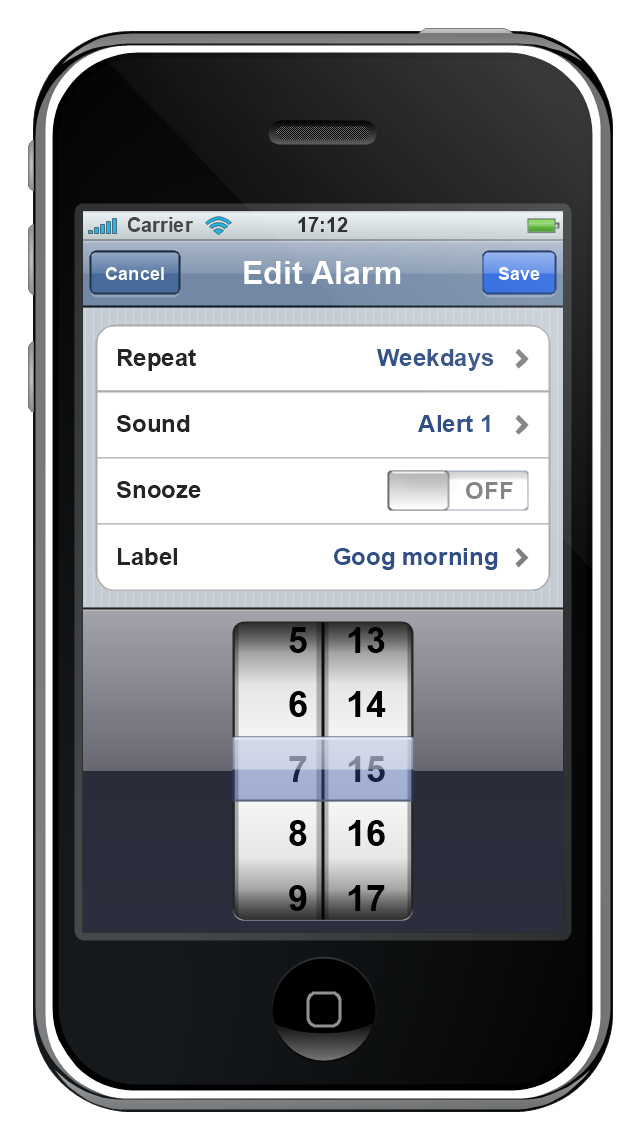iPhone GUI, switch control, status bar, screen, navigation bar, iPhone, grouped list, list, date and time picker, control button,