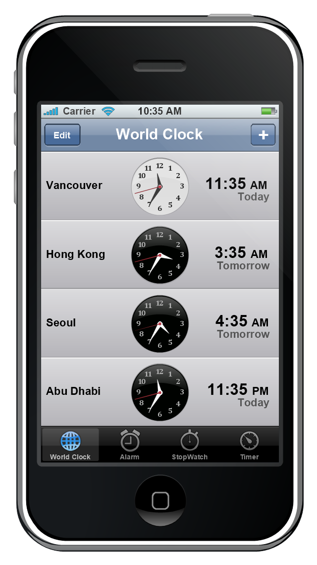 iPhone GUI, world clock, clock, timer, clock, tab bar, stopwatch, clock, status bar, plus button, navigation bar, iPhone, control button, clock, alarm, clock,
