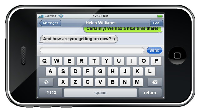 iPhone GUI, status bar, screen, navigation bar, modal view, message box, keyboard control, iPhone,