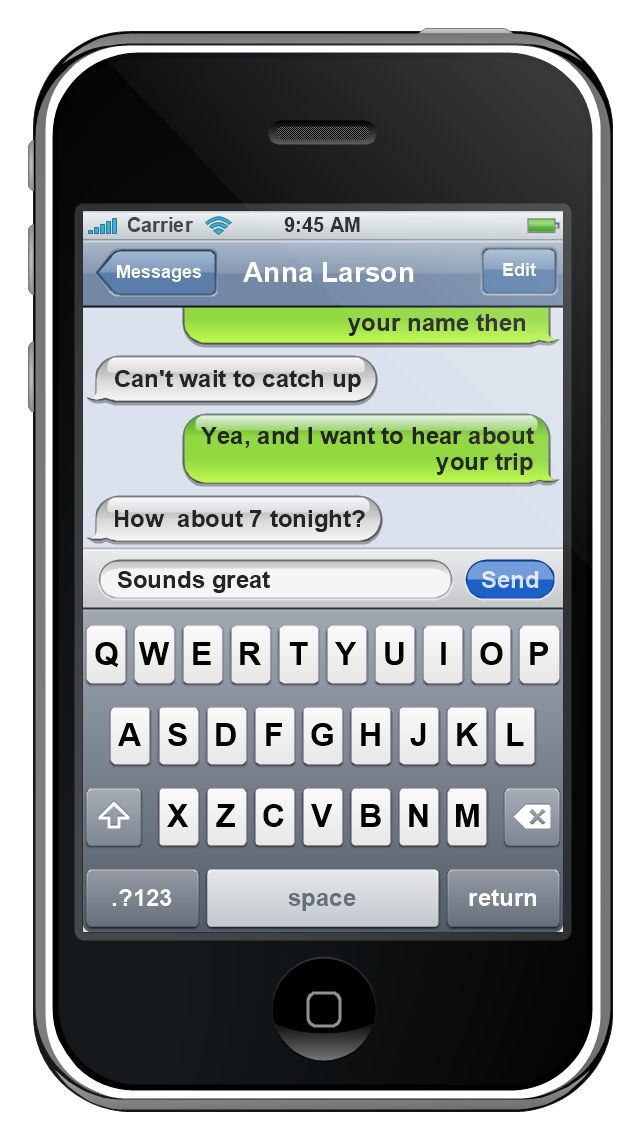 iPhone GUI, status bar, screen, navigation bar, controls, modal view, message box, keyboard control, iPhone,