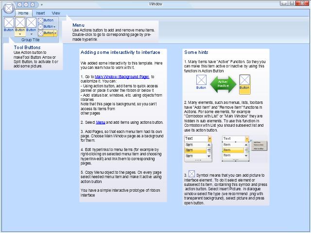 Home, tools group, tool button, menu, main window, balloon,