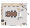 Floor plan, teacher's desk, desk, screen, room, rolling chair, rectangular table, table, rectangular column, column, folding chair, door, corner table, table, chalkboard, chair with arms, camera, cabinet, drawer, bookcase, base cabinet, base,