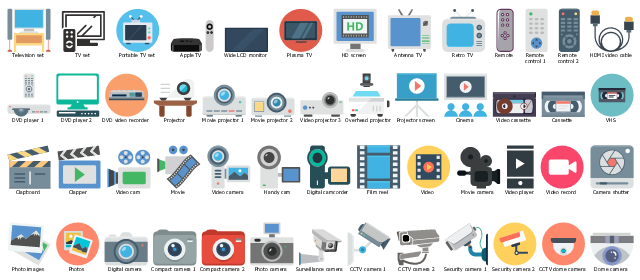 Multimedia clipart, wide lcd monitor, video record, video projector, video player, video cassette, video camera, video cam, film recorder, movie recorder, video, tv set, television set, tv set, surveillance camera, cctv camera, security camera, retro tv, remote control, projector screen, projector, portable tv set, plasma tv, photos, photo images, photo camera, overhead projector, movie projector, movie camera, video camera, cinema, movie, handy cam, film reel, movie, dvd player, dome camera, digital camera, compact camera, digital camera, digital camcorder, compact camera, clapper, clapboard, cinema, cctv camera, camera shutter, antenna tv, VHS, video cassette, HDMI video cable, HD screen, DVD video recorder, CCTV dome camera, Apple tv,