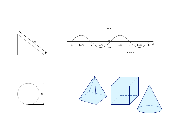 Mathematical drawings and graphs, sin(x), right triangle, pyramid, cube, cone, circle,