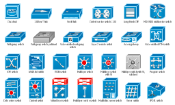Cisco switches and hubs symbols, workgroup switch, voice-enabled workgroup switch, voice switch, voice-enabled ATM switch, virtual layer switch, small hub, server switch, program switch, multilayer switch, layer 3 switch, multilayer switch with Si, multilayer remote switch, multifabric server switch, long reach CPE, layer 2 remote switch, data center switch, service module, content switch, content service switch 1100, access gateway, MGX 8000 multi service switch, LAN2LAN switch, ISDN switch, IP DSL switch, Cisco hub, ATM switch, 100BaseT hub,