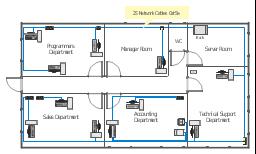 Ethernet LAN layout floorplan, window, wall, single outlet, scanner, router, rack mount, printer, duplex outlet, door, bus cable, PC,