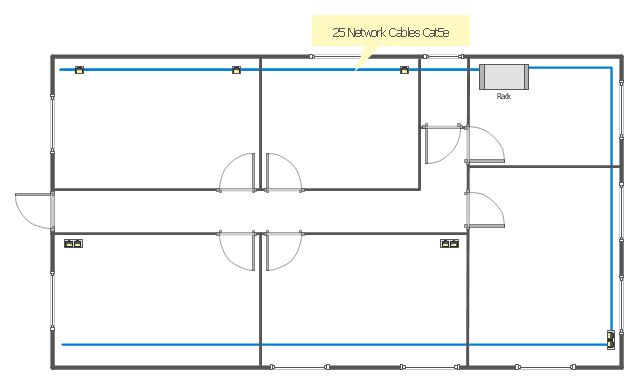 Network layout floor plan template, window, wall, single outlet, rack mount, duplex outlet, door, bus cable,