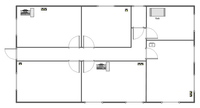 LAN equipment and cabling layout floorplan template, window, wall, single outlet, router, rack mount, duplex outlet, door, PC,