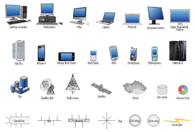 Computer network icons, workstation, star network, smartphone, satellite dish, satellite, radio tower, mobile phone, cell phone, mainframe, laptop computer, iPod Classic, iPhone, iPod Touch, iPhone 4, iMac desktop, desktop computer, desktop PC, data store, curved bus, computer monitor, compact disk, cloud, city, bus, Token-ring, PDA, MacBook, Mac Pro, FDDI ring, Ethernet, Comm-link, Apple Thunderbolt Display,
