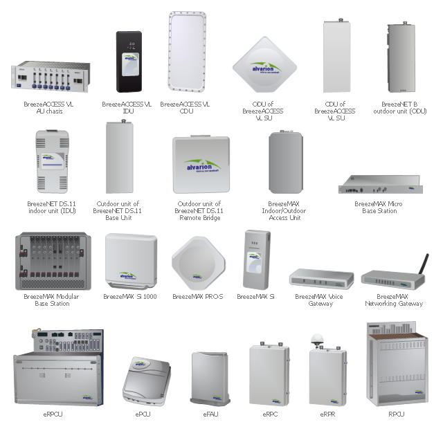 Telecom network equipment, chasis, Alvarion, BreezeACCESS VL, broadband wireless platform, access unit, AU, BreezeMAX, modular base station, Alvarion, WiMAX, access unit, BreezeMAX, Alvarion, networking gateway, wireless access point, broadband router, BreezeMAX Voice Gateway, Alvarion , BreezeMAX Si 1000, Alvarion, indoor access unit, WiMAX, BreezeMAX PRO-S, Alvarion, indoor unit, IDU, outdoor unit, ODU, modem, radio, antenna, Alvarion, remote bridge, outdoor unit, ODU, BreezeNET DS, wireless bridge, Alvarion, outdoor unit, ODU, BreezeNET DS, base unit, wireless bridging, Alvarion, outdoor unit, ODU, BreezeNET B, wireless point-to-point bridging, Alvarion, indoor unit, IDU, BreezeNET DS, wireless bridging, wireless bridge, Alvarion, indoor unit, IDU, BreezeACCESS VL, broadband wireless platform, Alvarion, eMGW, Enhanced Multi Gain Wireless, wireless telephony, DSL, eRPR, remote radio unit, Alvarion, eMGW, Enhanced Multi Gain Wireless, wireless telephony, DSL, eRPCU, indoor base station controller, Alvarion, eMGW, Enhanced Multi Gain Wireless, wireless telephony, DSL, ePCU, indoor subscriber interface, Alvarion, eMGW, Enhanced Multi Gain Wireless, eRPC, outdoor base station radio, wireless telephony, DSL, Alvarion, eMGW, Enhanced Multi Gain Wireless, eFAU, outdoor subscriber terminal, subscriber unit, wireless telephony, DSL, Alvarion, MGW, MultiGain Wireless, RPCU, radio port control unit, Alvarion, BreezeMAX, micro base station, Alvarion, BreezeMAX, access unit, AU, wireless network, Alvarion, BreezeMAX Si, WiMAX subscriber unit, Alvarion, BreezeACCESS VL, outdoor unit, ODU, broadband wireless platform, subscriber unit, SU, Alvarion, BreezeACCESS VL, outdoor unit, ODU, broadband wireless platform,  subscriber unit, SU, Alvarion, BreezeACCESS VL, outdoor unit, ODU, broadband wireless platform,