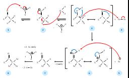 Alpha halogenation of aldehydes and ketones, reaction arrows, reversible reaction, plus, minus, hydrogen, H, bond, covalent bond, double bond,