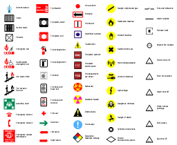 Fire and emergency symbols,  You are here, water supplies, water shut off, use stairs in fire, stairs, sprinkler connections, roof access, right arrow, red, radiation hazard, private fire detection system, oxidant material, other vertical openings, obstructions, Non ionising radiation, nearest fire hydrant, left arrow, knox box location, high voltage, hazardous materials storage, harmful chemicals, handicapped emergency exit, gas shut off, flammable material, first aid, fire point, fire hose, fire extinguisher, fire exit, fire escape, fire break glass, fire blanket, fire alarm, exit, entrance, emergency phone, emergency exit, emergency contact information, elevator shaft, elevator, electric shut off, double stairs, direction arrow, dangerous chemical, danger of death, danger compressed gas, corrosive material, black, biohazard