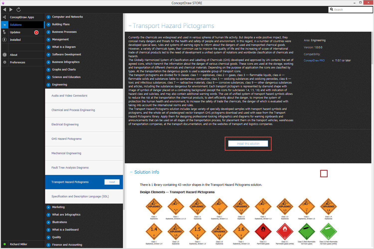 Transport Hazard Pictograms solution - Install